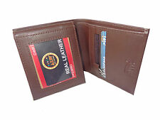 ALW Square Size Stylish Leather Card Wallet - Dark Brown