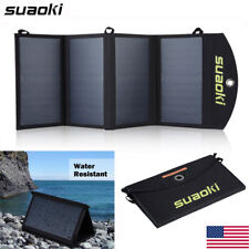 25W Portable Foldable Solar Panel Battery Charger Dual-Port Mobile Power Bank US