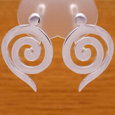 Stylish Massive Solid 925 Sterling Silver Elegant Spiral French Clip Earrings