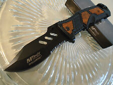Mtech Ballistic Assisted Open Black & Wood Combat Rescue Pocket Knife A941WD