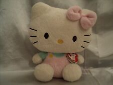 Hello Kitty Ty-The Pluffies Collection - Pink Overalls Mint Green Shirt Pink Bow