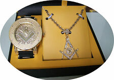 Men's Gold Finish Mason Iced Out Techno Pave Watch/Chain Charm Combo+ Box