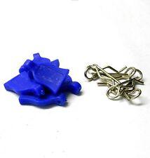 HY00148B1 Silver Body Clips R 1/16 1/10 pequeñas Pin X 4 + apretones de goma azul marino