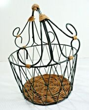 Decorative Basket Green Wire and Wicker Round with Handle Home Decor Heavy Metal