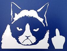 Grumpy cat middle finger stickers car van bumper window decal 5099 white