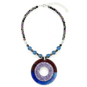 New Beads and Hoop Short Statement  Necklace Blue/Purple Circle