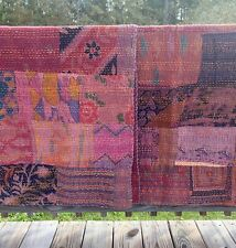 "New ListingKing / Queen Cotton Patchwork Vintage Kantha Quilt, 108""x88"" Handmade"