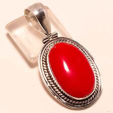 "Marvelous Red Coral Gemstone Handmade Jewelry Gift Pendant 2.11"""