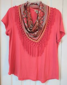 Women's Casual Shirt-Solid Coral-Removable Scarf-Stretch-Size XL-One World