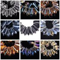 10pcs 10x25mm Teardrop Cone Faceted Crystal Glass Loose Craft Beads Pendants