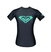 NEW! AUTHENTIC WOMEN'S SHORT SLEEVE RASHGUARD SWIMWEAR (BLK/GREEN, SIZE LARGE)