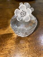 RETIRED MINT Swarovski Anemone Flowers Floral Frosted Crystal Trinket Box  MARK