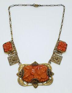 Antique Art Nouveau Gold Gilt Brass Coral Celluloid Floral & Filigree Necklace