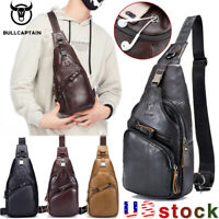 BULLCAPTAIN Mens Genuine Leather Sling Chest Bag Travel Crossbody  Shoulder Bag