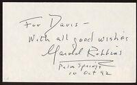 Harold Robbins Signed Index Card Signature Vintage Autographed AUTO