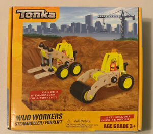 Tonka Wud Workers Wooden Steamroller/Forklift Play Set Over 45 Pieces  New