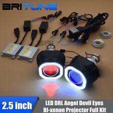 Headlight HID Bi-xenon Projector Lens Square COB Angel Devil Eyes Black LED DRL