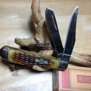 "Rough Rider Amber Jigged Bone Lockback Trapper 4"" Pocket Knife  RR1069"