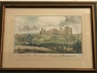 Vintage Bothwell Castle Etching Print, Joseph Strutt Engraving, Framed w/COA