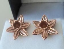 Welsh 9ct ROSE Gold LARGE Daffodil Earrings  - Cymru Y Metel