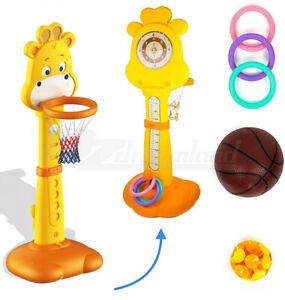 Toddler Kids 5 in 1 Basketball Hoops Playset Indoor Outdoor Toy Height Adjustabl