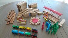 Brio and Compatible Lot Wood Track Trains Trees Figures Bridges Vintage 1990s