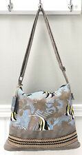 Guy Harvey Medium Canvas Shoulder Crossbody Bag Angel Fish Blue Beige EXCELLENT