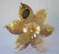 Genuine Italian Art Blown Glass Flower Murano Gold Purple Made in Italy No 444