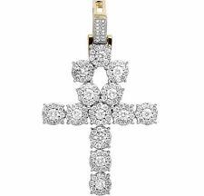 "Men's 14K Yellow Gold Real Diamond Cluster Ankh Cross Pendant Charm 2 CT 1.75"""