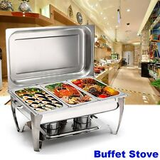 Three 2-1/2 Quart Stainless Steel Rectangular Chafing Dish Full Buffet Catering