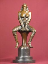 SIGNED BRONZE HANDCRAFTED STATUE NUDE HIGHLY DETAILED SCULPTURE ON MARBLE BASE