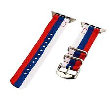 White/Blue/Red - 2 Piece Classic SS Nylon Watch Band for 38mm Apple Watch