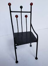 Metal Large Doll Sized Chair Throne Display Stand Black Bead Accents Approx 12""