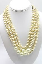 Chico's Multi Strand White Knotted Faux Pearl Necklace Silver tone   0686