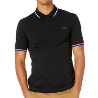 Fred Perry Men's Short Sleeve M3600 Twin Tipped Polo Shirt Black/White/Med Blue
