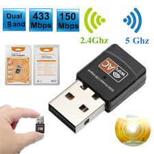 600Mbps Dual Band 2.4G / 5G Hz Wireless Lan USB PC WiFi Adapter 802.11AC