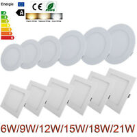 Dimmable Recessed LED Panel Light 9W 12W 15W 18W 21W Ceiling Down Lights Lamp