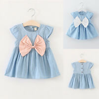 UK Toddler Infant Kids Baby Girls Princess Dress Summer Party CASUAL Bow Dresses