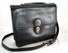 Coach Vintage Willis Black Leather Brass Trim Crossbody Bag 9927