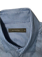 Ermenegildo Zegna Men's Sz Medium Geometric Blue Long Sleeve Button-Down Shirt