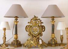 Grande Paire De Lampes Flambeaux En Bronze Patiné Et Doré, époque Restauration,