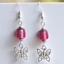 Butterfly Earrings with Sterling Silver Hooks & Purple Indian Glass Beads LB422