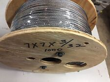 "3/32"" Galvanized 7x7 Aircraft Snare Cable 1000ft New Sale"