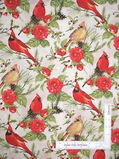 Christmas Wildwood Cardinal Birds Flowers Beige Cotton Fabric Wilmington By Yard