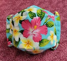 3D Origami Cotton Face Mask w/ Nose Wire & Filter Pocket 🌺 Hawaiian Hibiscus 🌺