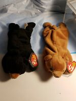 Ty Beanie Babies Rare Retired Blackie & Cubbie w Tag ERRORS! PVC HOLIDAY DEALS!