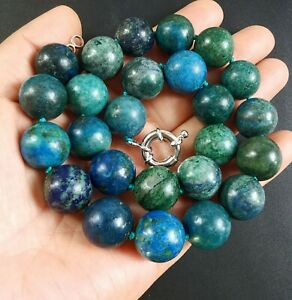 """Natural Azurite stone choker necklace,Round Smooth 16mm Beads Knotted 18""""20""""24"""""""