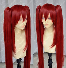 Fashion Lady Dark Red Double Ponytail Straight Hair Cosplay Daily Party Full Wig