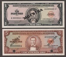 Dominican Republic - SPECIMEN notes 1 & 5 Pesos Oro (1960's) P99s & P100s - CU