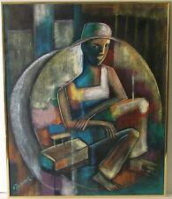HENRY DUBREUIL HAITI b. 1949 SHOE SHINE BOY MODERN CUBIST RAW INTELLECT